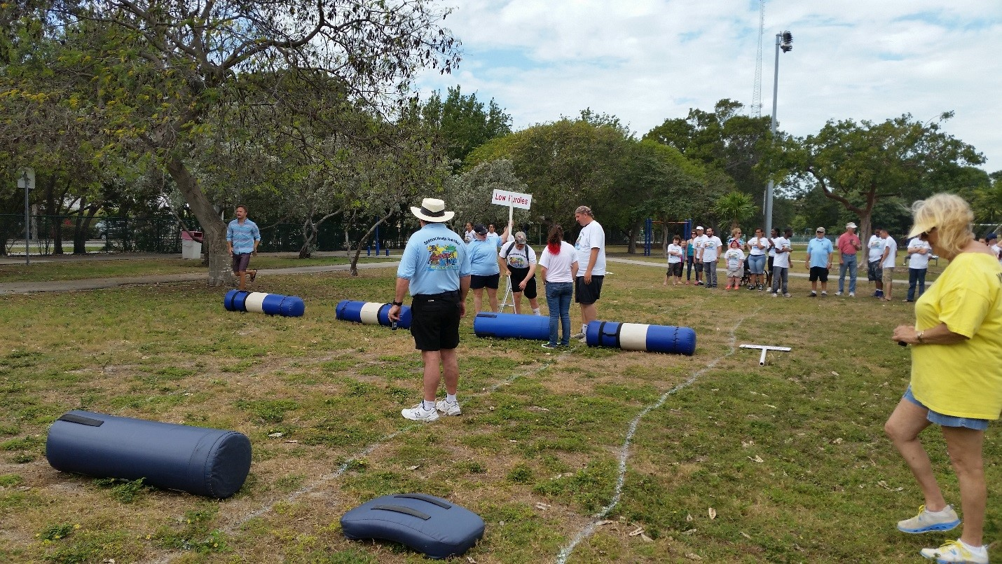 Participants get ready to tackle the Fun Day obstacle course.