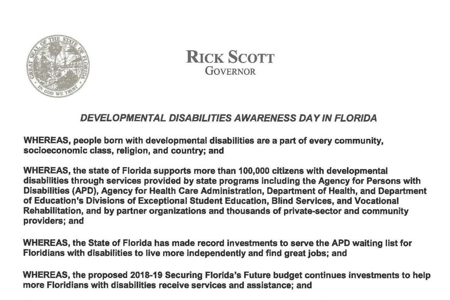 Image of Developmental Disability Awareness Day Proclamation