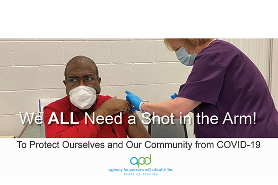 APD Graphic - We all need a shot in the arm! To protect ourselves and our community from COVID-19.